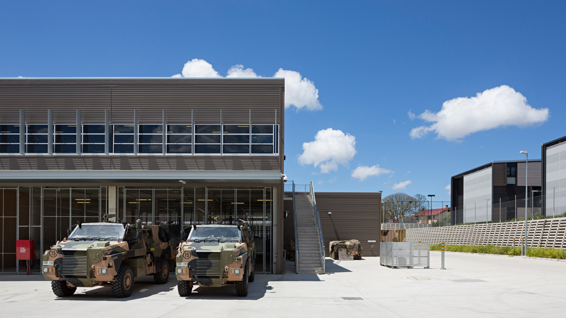 Enoggera Barracks trucks parked