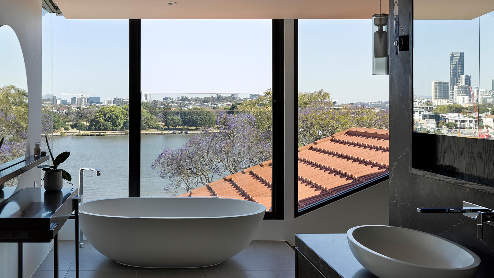 Maritimo bathroom view of Brisbane